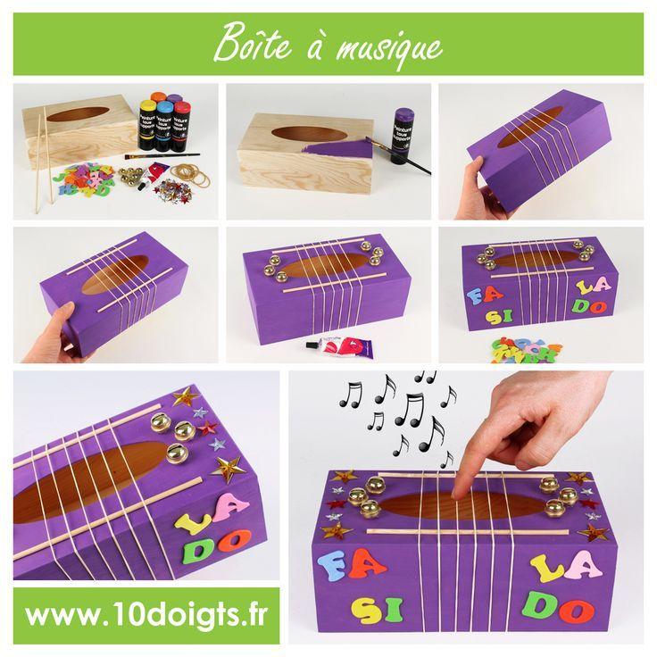 Transformez une boite à mouchoirs en véritable boite à musique grâce à des élastiques et quelques grelots. Les enfants vont adorer :) #Bricolage #enfants #loisirscréatifs #DIY #Craft #Kids