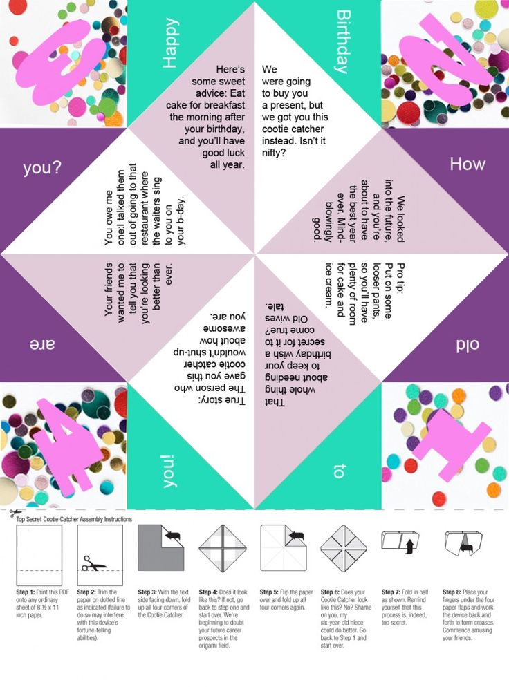 free printable a confetti birthday paper fortune teller even better than a card printable. Black Bedroom Furniture Sets. Home Design Ideas
