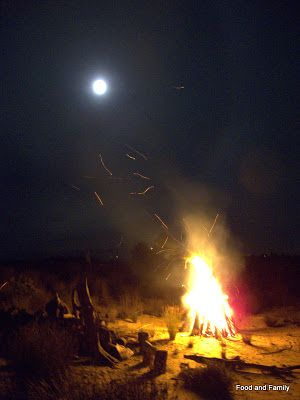 Midwinter bonfire and full moon at our 2013 Winter festival