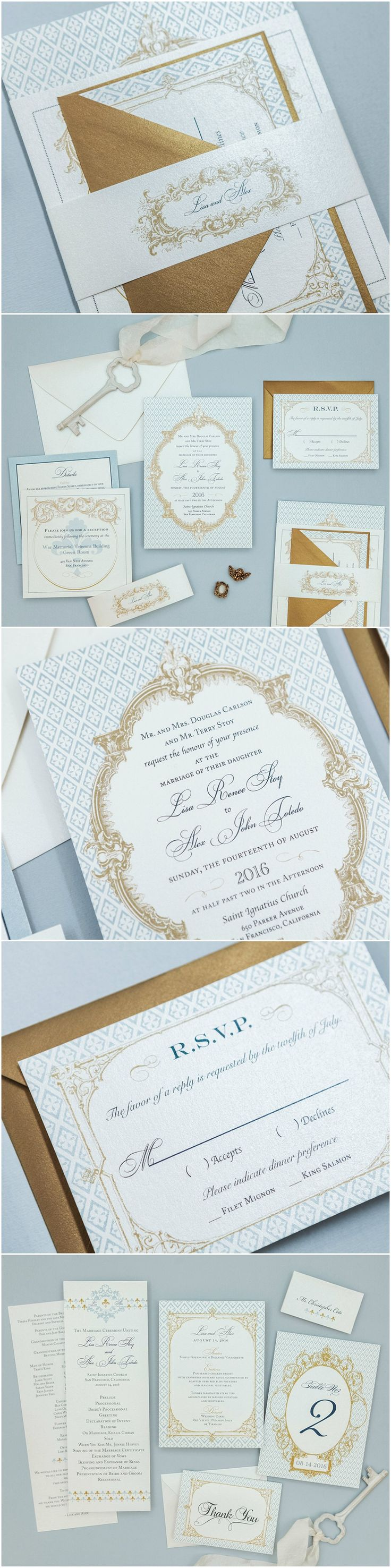 Dusty Blue French Baroque Wedding Invitation by B.designs Paper. Romantic Wedding Invitation. Calligraphy Wedding Invitation. French Wedding Invitation. Blue Save the Date.