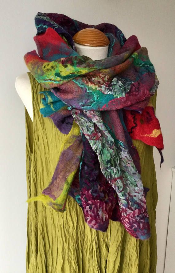 847970ce520f0 LIVE COLOURFULLY - This hand felted textural wool & silk shawl is made  using a combination of cobweb and nuno felting techniques. With its quirky  style, ...