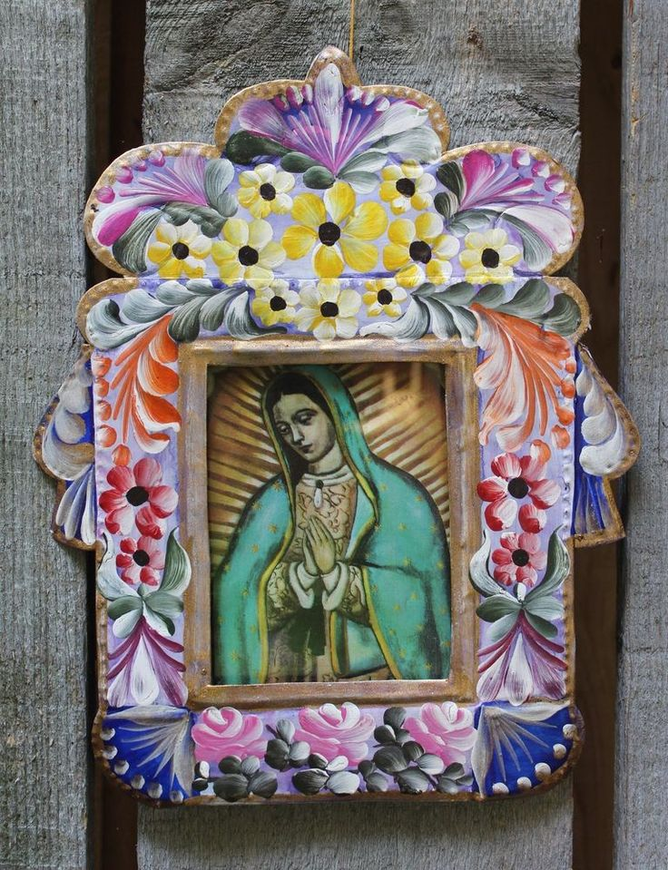 Nuestra se ora de guadalupe retablo niche hand painted for Our lady of guadalupe arts and crafts