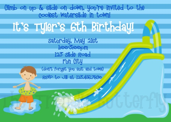 17 Best images about Waterslide party – Water Slide Party Invitations