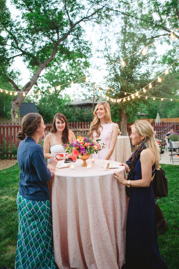 Superior Engagement Cocktail Party Ideas Part - 5: Colorful Backyard Engagement Party - Milehighbride.com High Tops Are A  Pretty Good Idea!