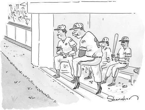 """My weekly entry in The New Yorker cartoon caption contest - Contest #440, September 1, 2014   My Caption """"Can't explain it - just started the day after I quit the chewing tobacco"""""""