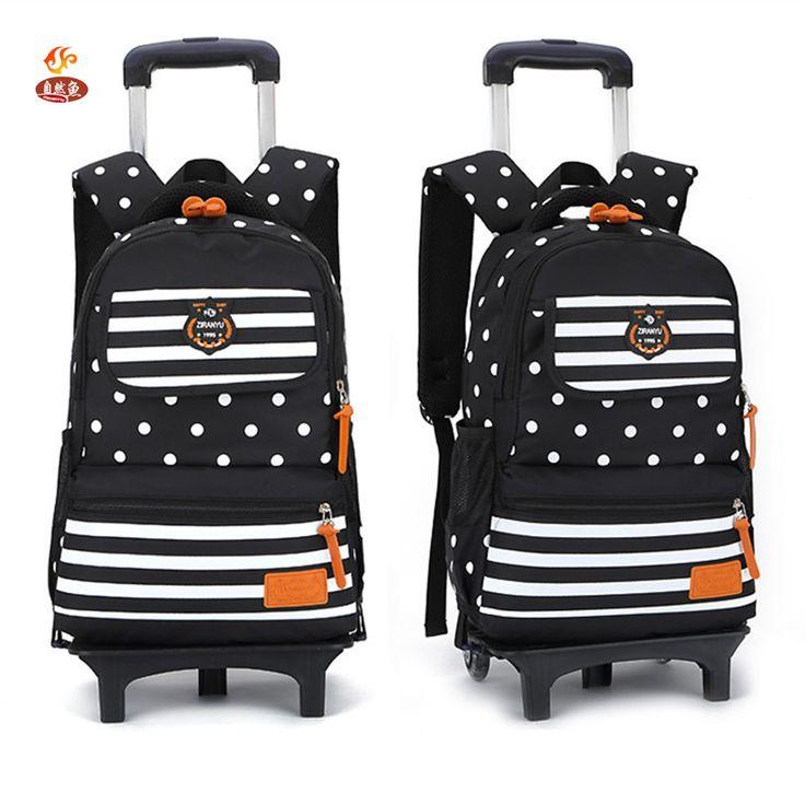 Fashion Designer Brand Primary Elementary Girls 2/6 Wheeled Trolley School Bags Draw-Bar Box Suitcase Backpack Mochila Kids Boys