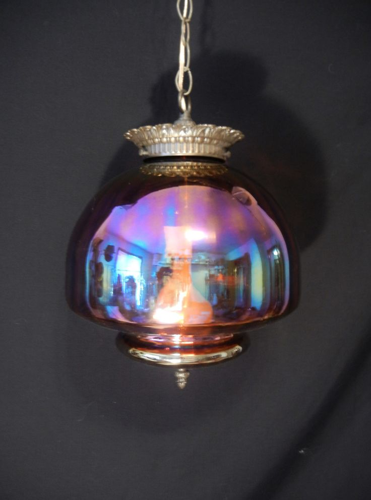 Vintage Mid Century Carnival Glass Shade Swag Hanging Lamp