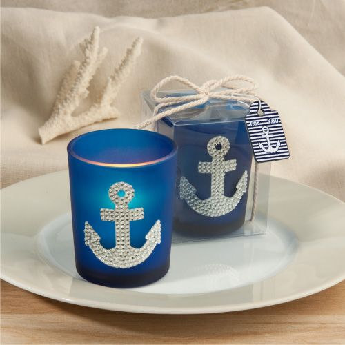 Anchor Design Nautical Candle Favors and Decorations for your beach wedding - too cute! www.affordableelegancebridal.com