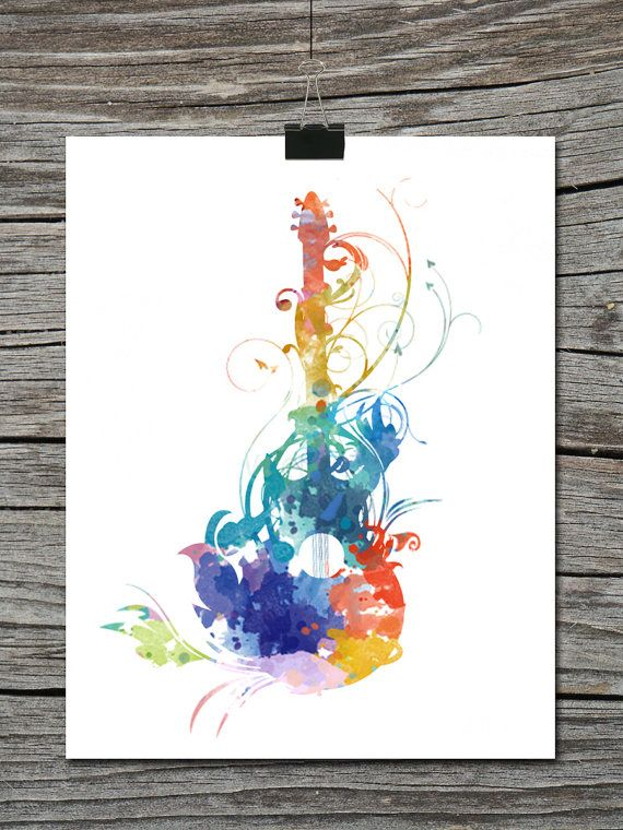 Hey, I found this really awesome Etsy listing at https://www.etsy.com/listing/172556423/watercolor-guitar-silhouette-music