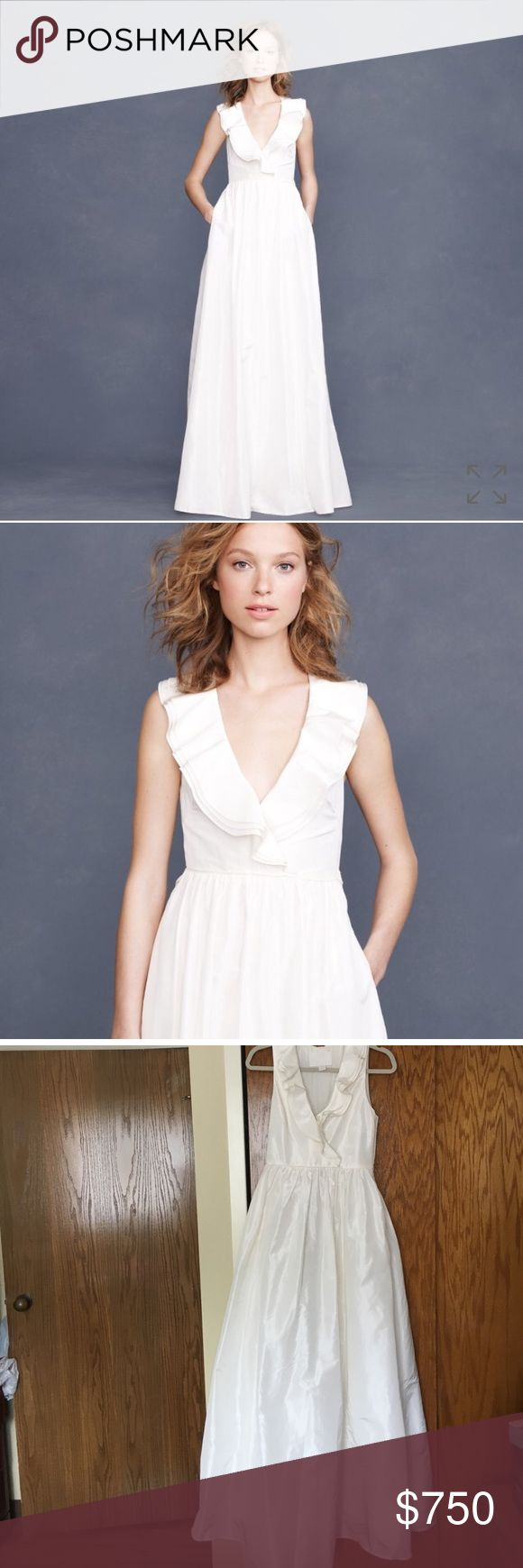 J Crew Kira wedding dress. Size 2 J Crew Kira  wedding dress. Size 2. No longer available online. More of an ivory color. Some fraying of lining  shown in picture. Will need to be dry cleaned before use. Bottom of dress is a bit dirty. More info from J Crew site is available in comments section . Any questions please ask.  More than happy to help. I cannot personally fit so no modeling available. J. Crew Dresses Wedding