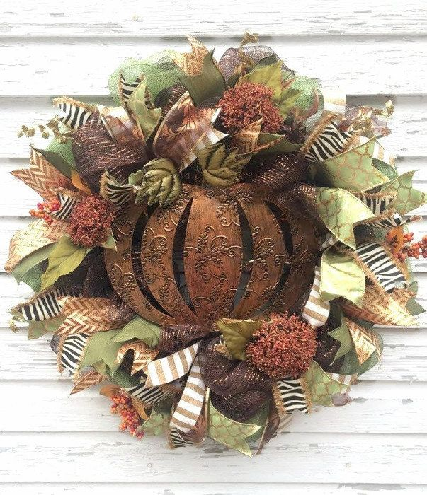 Fall Deco Mesh Wreath w metal pumpkin by DivineDesignWreaths