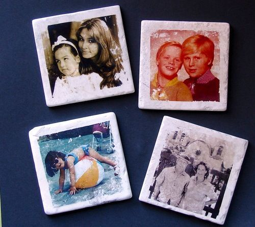 Photo Tile Coasters http://www.handimania.com/diy/photo-tile-coasters.html