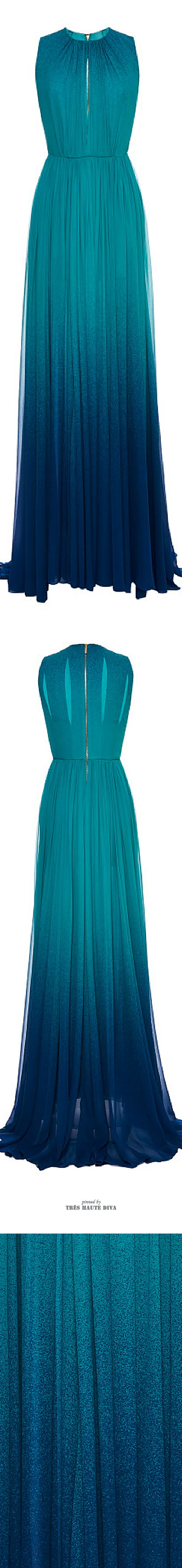 Elie Saab Turquoise Degrade Silk Georgette Dress ♔ SS 2015