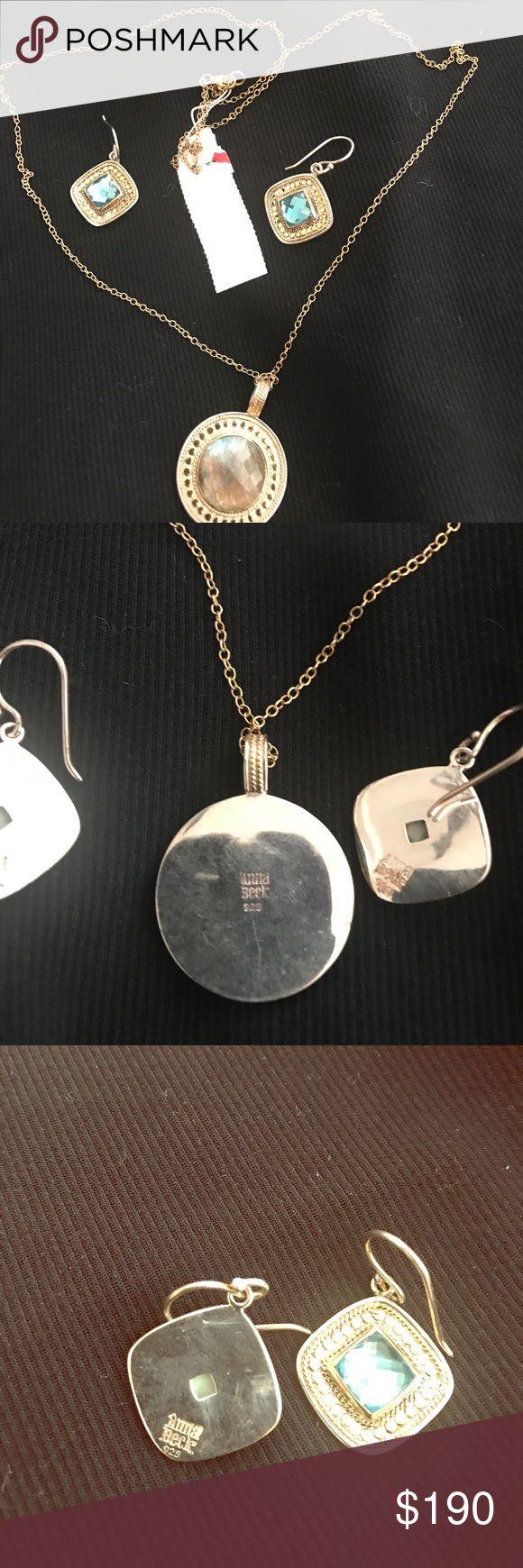 Anna beck necklace 925 silver Anna beck gray blue gold disc necklace labradorite stone anna beck Jewelry Necklaces