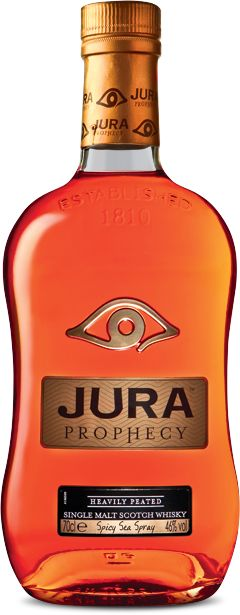 Jura Whisky - PROPHECY     Heavily peated with fresh cinnamon and spicy sea spray  Matured without chill filtration for a huge peaty punch, this complex whisky is aged in Limousine oak casks. Some taste peat smoke, fresh cinnamon and spicy sea spray, but like any great story, it's all open to interpretation.