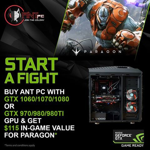Buy Ant PC with GeForce GTX 1060/1070/1080 GPU or GTX 970/980/980Ti #GPU and Get $115 in-game value for Paragon. Buy Now at www.ant-pc.com