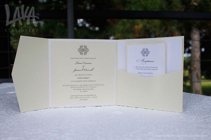 Adorn #PocketInvitation in #Ivory by www.lavastationery.com.au