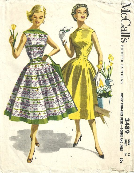 This is an original vintage sewing pattern from McCalls, designed in 1955. The pattern makes a beautiful two piece dress with a bateau neckline.