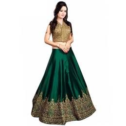 Gorgeous Green Colored Embroiderd Banglory Silk Lengha Choli