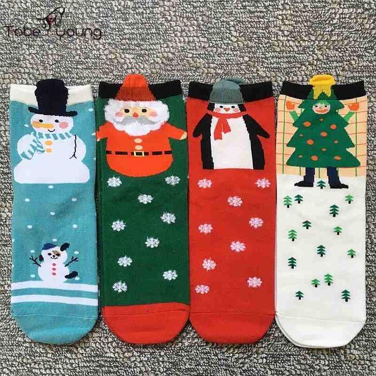 2016 New Cute Santa Christmas Snowman 3D Cartoon Animals Socks Womens Girls Cotton Low Cut Ankle Sock Femininas 1 pair #Affiliate