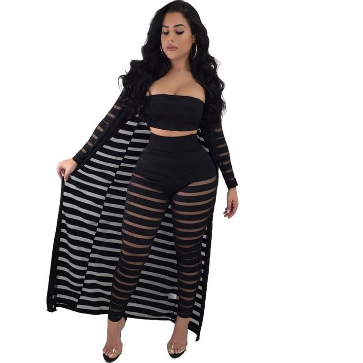 Mesh Striped Beach Vacation Outfits Plus Size Club Sexy Jumpsuit Fashion Women Night Streetwear With Shawl Lace Spring Break Clothes