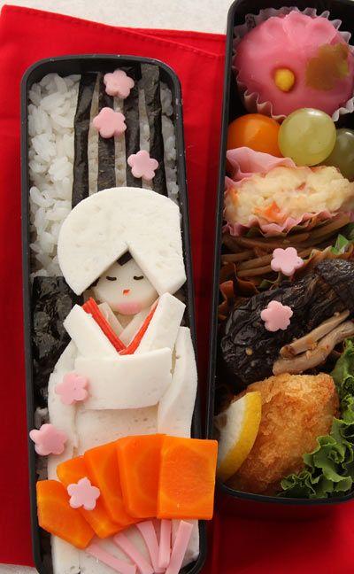 着せ替え弁当-お嫁さん .. small sakura ham are cut by this cute cutter. http://www.allthingsforsale.com/bento-deco-cutter/2669-japanese-bento-decoration-ham-cheese-cutter-heart-clover-flower-4901601359053.html