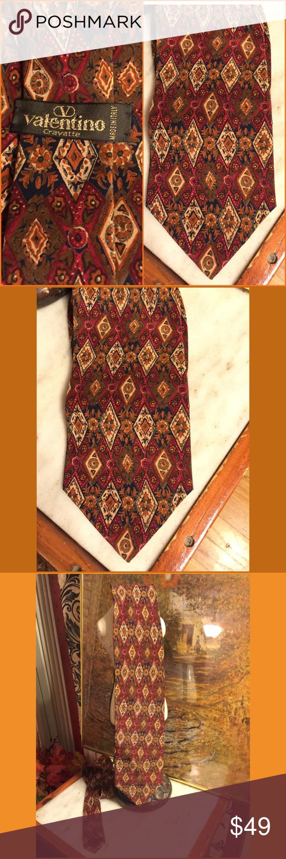 """SALE🌷VALENTINO SILK ITALIAN RED-BROWN PRINT TIE VIBRANT AND RICH SILK, ITALIAN MADE VALENTINO MEN'S TIE. 57"""" LONG TIP TO TIP. 4"""" WIDE AT BOTTOM. RETAIL $399.. NWOT-NEVER WORN. PLEASE DO NOT HESITATE TO ASK ANY QUESTIONS! #nwot #silk #italianmade #menstie #reddishbrown #richprint #tie Valentino Accessories Ties"""
