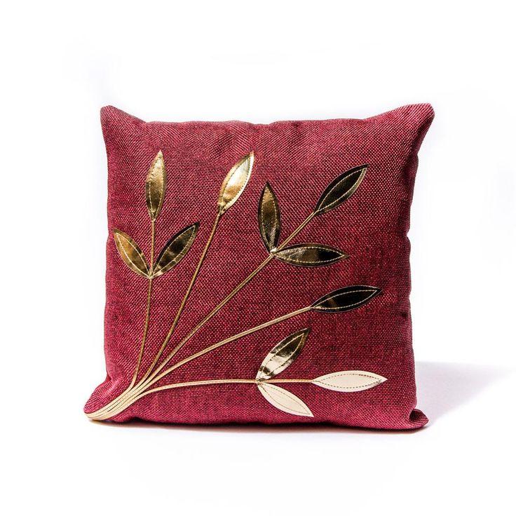 Maroon Golden Leaf Pillow
