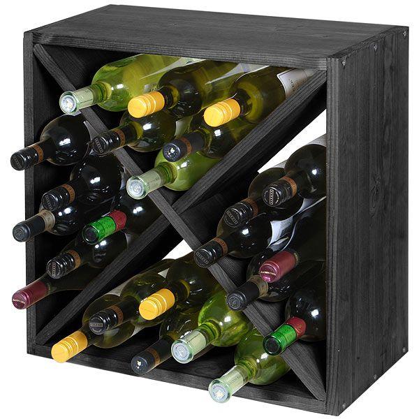 Wine Cellar Cube Black Ash 300mm - 24 Bottle | Traditional Wine Racks Wine Racking - Buy at drinkstuff