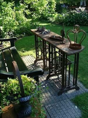 Old sewing machine table