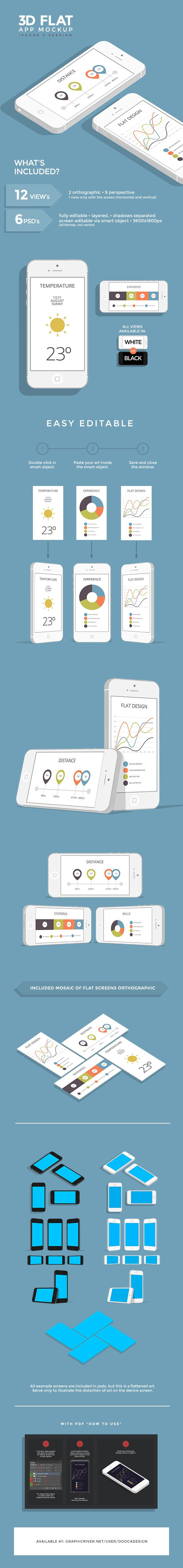 3D Flat App Mockup - iPhone by Dooca Premium Resources , via Behance