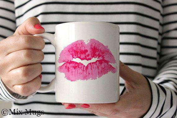 Lipstick Mugs Pretty Mug Cute Mug Lips Mug Mugs for Her by MixMugs