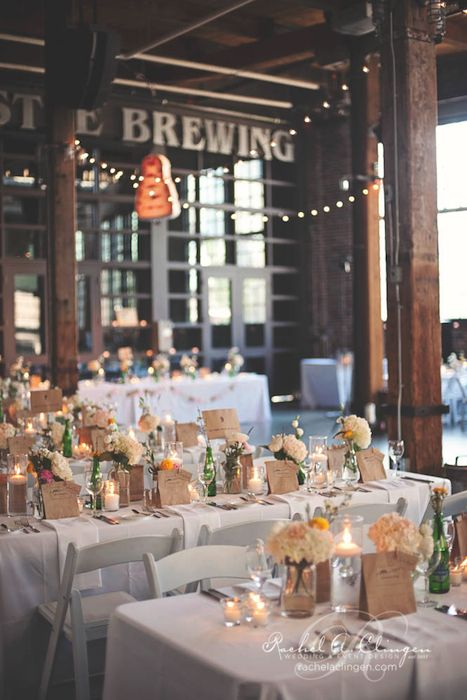 Burlap and paper bags suit the rustic look of this brewery reception. Source: Rachel A. Clinger