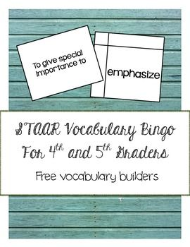This STAAR vocabulary building game is designed to expose students to challenging words found on the 4th and 5th grade released STAAR Reading assessments.Definitions for these tough words have been written in student-friendly language on individual cards.