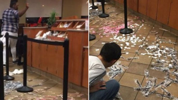 WARNING: Some of the footage contains explicit language.  JACKSONVILLE, Fla. -- A group of angry customers trashed a Chick-fil-A after a disagreement over chicken nuggets,WJXT reports.  The incident happened Monday evening at a Jacksonville, Florida restaurant.  Allison Music walked into the restaurant and noticed two males arguing with employees.