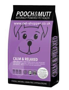 Pooch and Mutt Calm & Relaxed Premium Dog Food 2kg. 'Calm & Relaxed' from Pooch & Mutt is a premium, grain free, complete dried dog food for dogs that tend to be anxious or excitable.