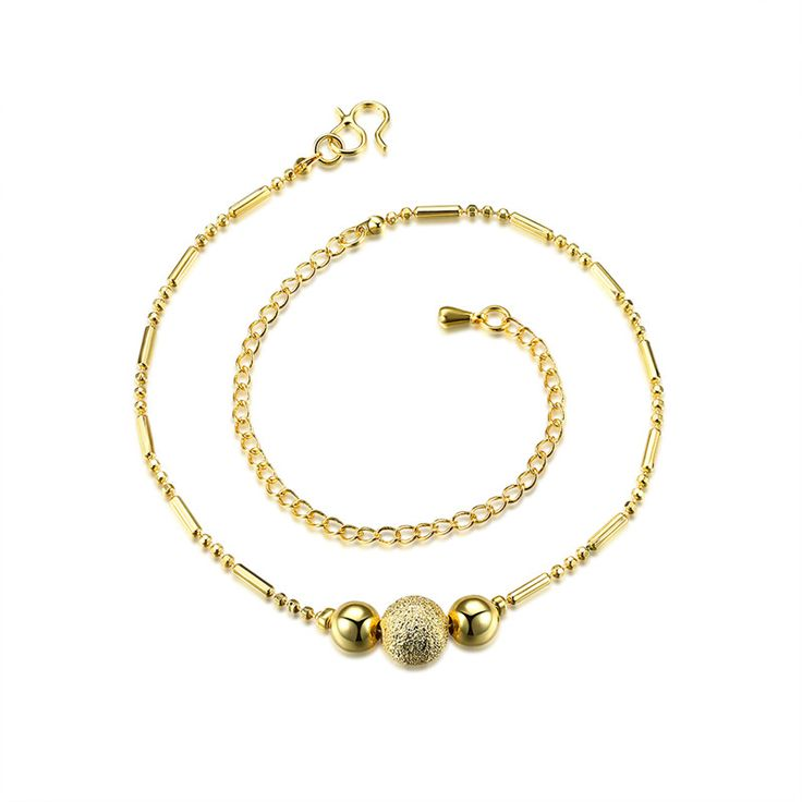 Charm Beads Gold Color Anklets for Women Barefoot Sandals Ankle Bracelet Foot Jewelry Enkelbandje