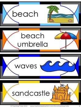 FREE SUMMER Word Wall cards. Summer for Kinder Kids FREEBIE contains a Read, Write and Roll sight words Activity, Sorting op, oss, og words Summer Activity, Summer Ten Frames Activity, Using Tally Marks Activity and 8 fun SUMMER Word Wall cards.