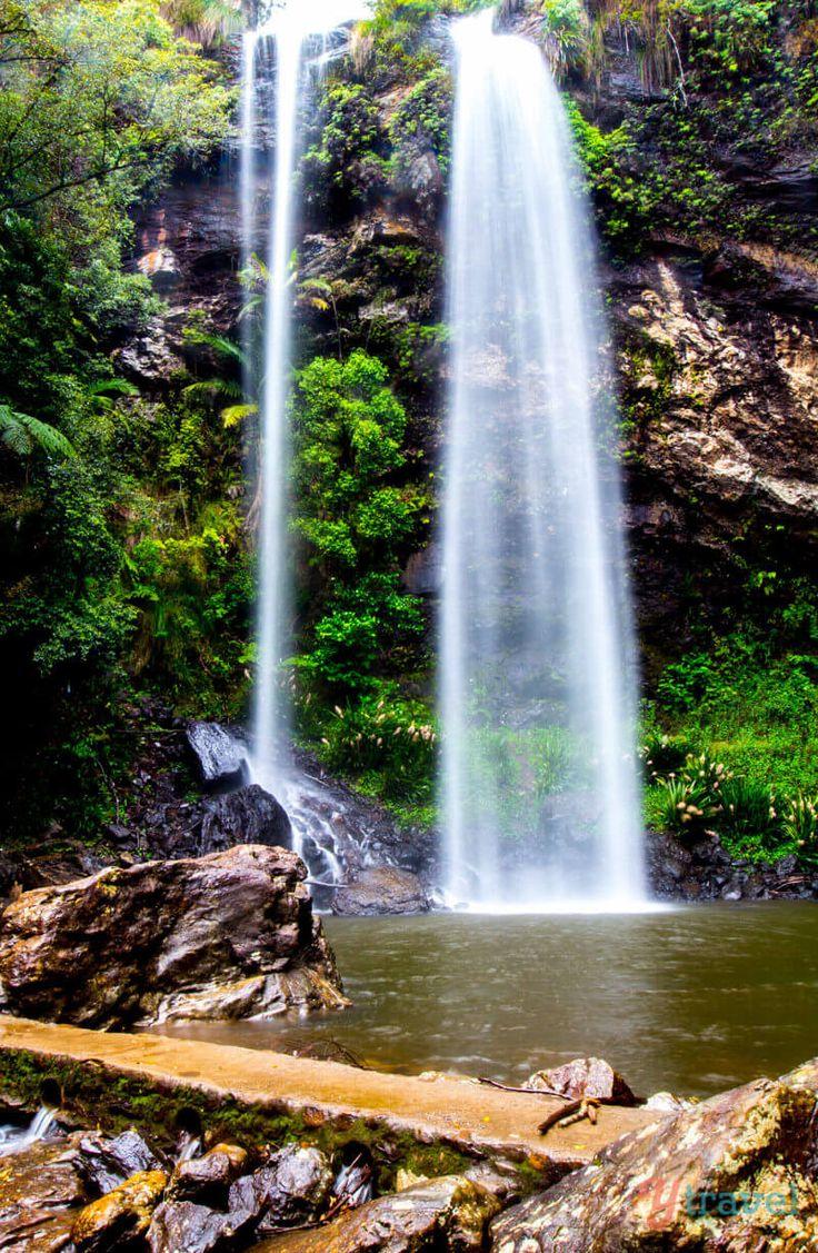 Twin Falls in Springbrook National Park, Gold Coast Hinterland, Queensland, Australia