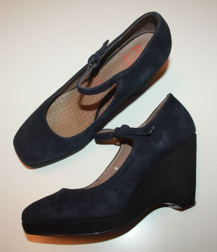 M&S Footglove Fashion Navy Dark Blue Suede Wide Fit Dolly Wedge Shoes UK 5 #FootGlove #MaryJanes