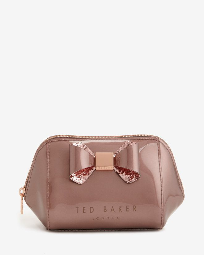 Glitter bow trim small wash bag - Pink | Gifts for Her | Ted Baker ROW