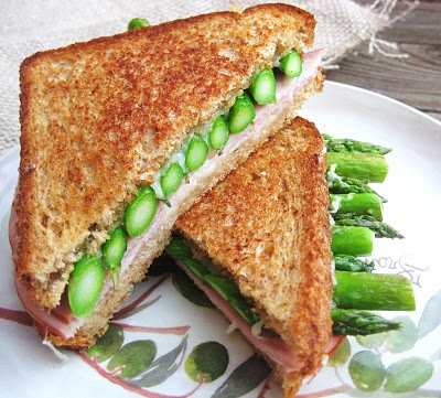 grilled ham, asparagus and gruyere cheese sandwich