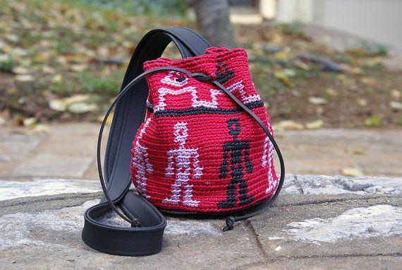 Boho Crossbody Crochet Bag Wayuu Mochila Bag Red Rose Crochet
