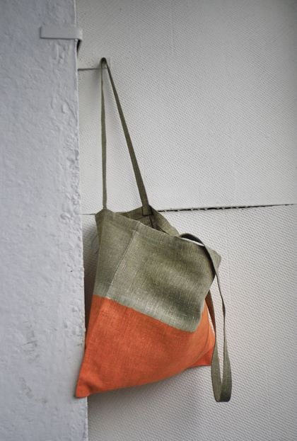 Дизайн и изготовления - Елена Ква. Льняная сумка Оранжевый неон.