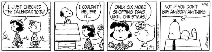 First appearance:December 17th, 1977 #peanutsspecials #ps #pnts #schulz #snoopy #lucy #sally #calendar #six #shopping #christmas  www.peanuts.com