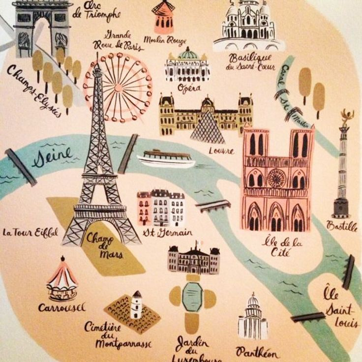 Paris Landmarks in a cute map! These are some of the main landmarks and places to put on your itinerary.