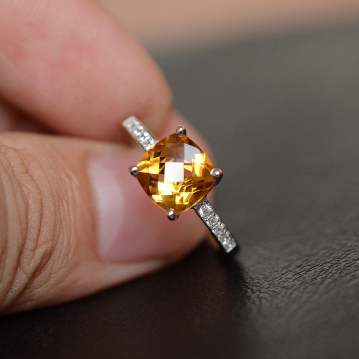 Natural Citrine Ring Gemstone Promise Ring For Her by godjewelry