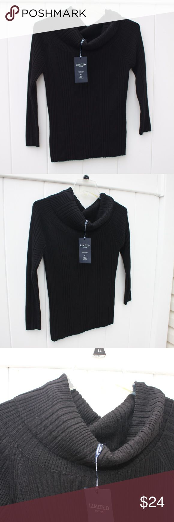 [Marks & Spencer] NWT Black Cowl-Neck Sweater Very soft and comfortable Marks & Spencer (M&S) black cowl-neck turtleneck. Brand new with tags. London designer, this sweater turtleneck was made in Turkey. UK size 16 - I included the sizing chart, a 16 is approx a US 12 or Size Large.  83% Viscose  14% Polyamide 3% Polyester Marks & Spencer Sweaters Cowl & Turtlenecks