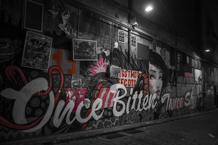 Hosier Lane, Melbourne, Photoshopped the Red Colours In