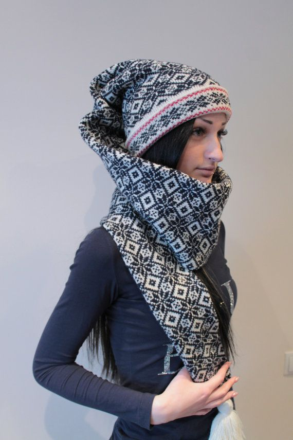 Super Long stocking cap with star pattern and long by LanaNere